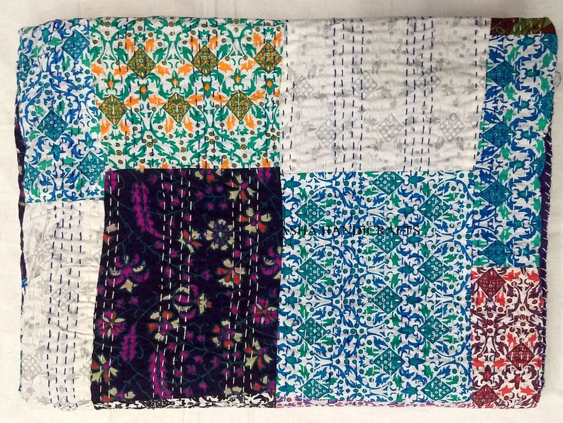 Humor Queen Size Indian Handmade Kantha Quilt Reversible Blanket Vintage Bed Cover Complete In Specifications Quilts, Bedspreads & Coverlets