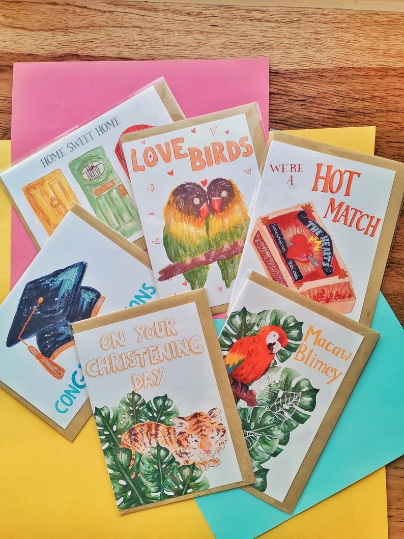 Pix and Mix pack of Any 4 Illustrated Cards image 0