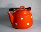 NOS vintage red enamel kettle Soviet white red polka dot enamel teapot Retro enamel kettle Russian white tea kettle Metal kettle 3 L