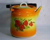 NOS vintage orange enamel kettle Soviet orange with red poppies enamel teapot Retro enamel kettle Russian orange metal tea kettle 3 L