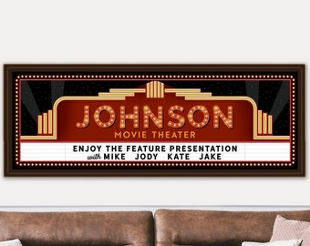 Custom Home Theater Sign | Movie Theater Decor | Personalized Movie Theatre Sign, Theater Room Decor, Movie Marquee Sign, Cinema Signs