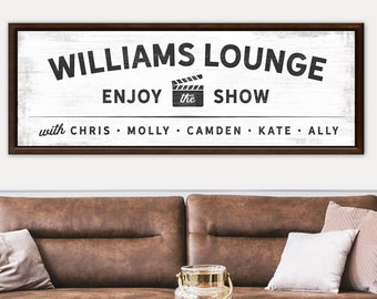 Personalized Name Theater Cinema Movie Room Wall Art CANVAS Decor