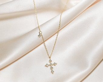 18K Gold Cross Necklace - Gold Cross Necklace Women - Christian Jewelry -  Gold Layered Necklace Religious Jewelry Anniversary Gift 39e7d5140