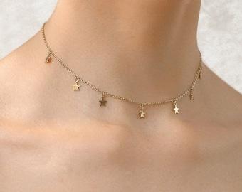 Minimalist Choker Dainty Necklace Rose Gold Choker Delicate Choker Delicate Star Necklace Star Choker Silver Choker The Nova Choker