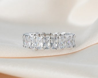 GoldSilver cz eternity band baguette ring irregular cubic zirconia stackable rings,cz adjustable statement ring 18k goldrhodium plated