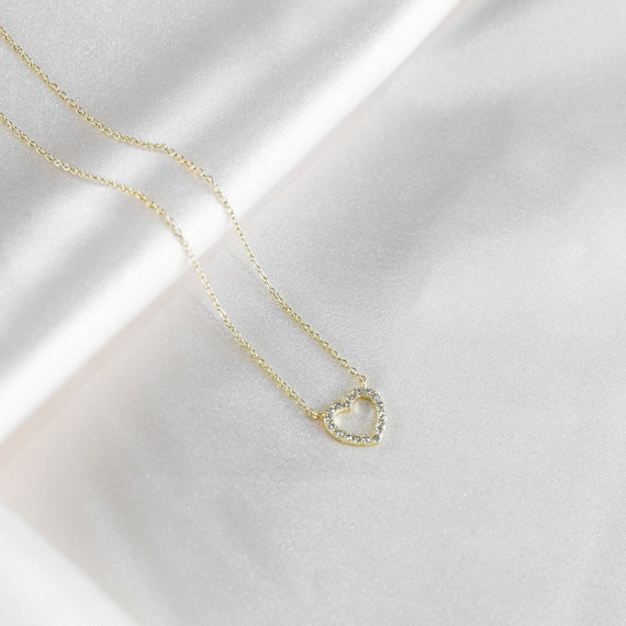 heart-necklace---18k-gold---love-necklace-for-women---layered-necklace---dainty-necklace---charm-necklace---anniversary-gift by etsy