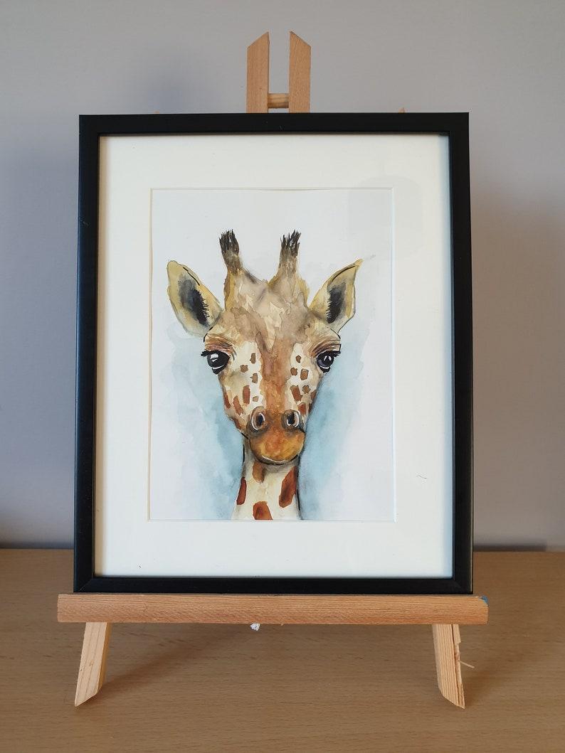 Giraffe Art 22x27cm Watercolour Watercolour Painting Young Giraffe Original Artwork Giraffe Gift. Giraffe Framed and Mounted