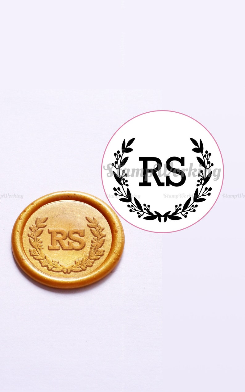 Personalized Initial with Leaves Wreath Wax Seal Stamp Custom Seal Stamp Invitation Wax Seals Wedding Wax Stamp Kit Initial Wax Seal