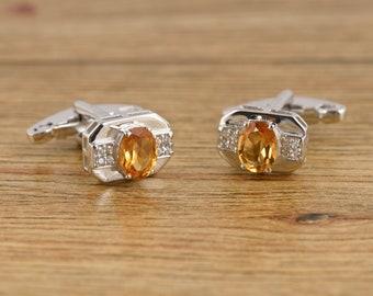 Beautiful Gift For Men November Birthstone Cufflinks Natural Citrine Gemstone Men/'s Cufflinks 925 Solid sterling Silver