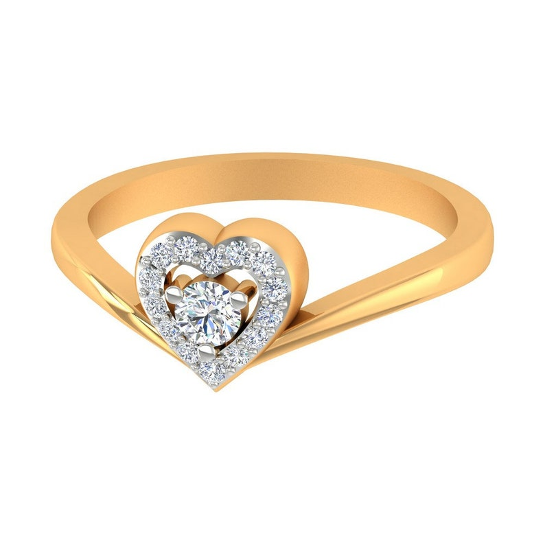 14K Yellow Gold Certified IJ-SI Diamond Heart Shape Anniversary Gift Item Gold Ring Size US 4 to 8