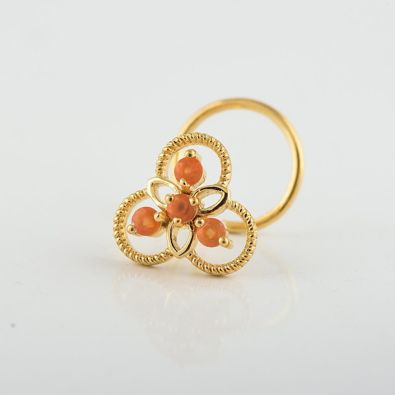 Yellow Gold Floral Nose Pin Gift Able 14k Yellow Gold Natural Carnelian Gemstone Nose Ring