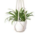 Macrame Plant Hangers Indoor Hanging Planter Basket, Wood Beads Decorative Pot Holder No Tassels for Indoor Outdoor Home Decor 35 Inch Ivory