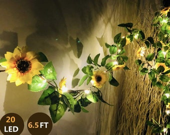 20 LED Artificial Sunflower Garland String Lights 6.56ft Silk Sunflower Vines with 9 Flower Heads Battery Operated Fairy Night Light Bedroom