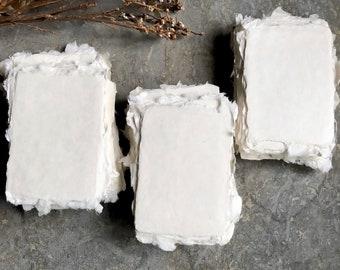 MADE TO ORDER, Handmade Paper, Natural Handmade paper, Cotton Paper, Place Cards, Papier Fait Main, Deckle Edge Paper, Deckle Edge