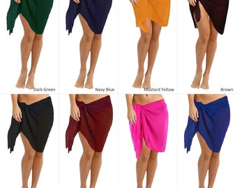 824bac846884d Sarong Warp Scarf Pool Party Swimsuit Cover-up Skirt Solid Plain Semi  Chiffon Summer Fashion Pareo Beach Wear For Her