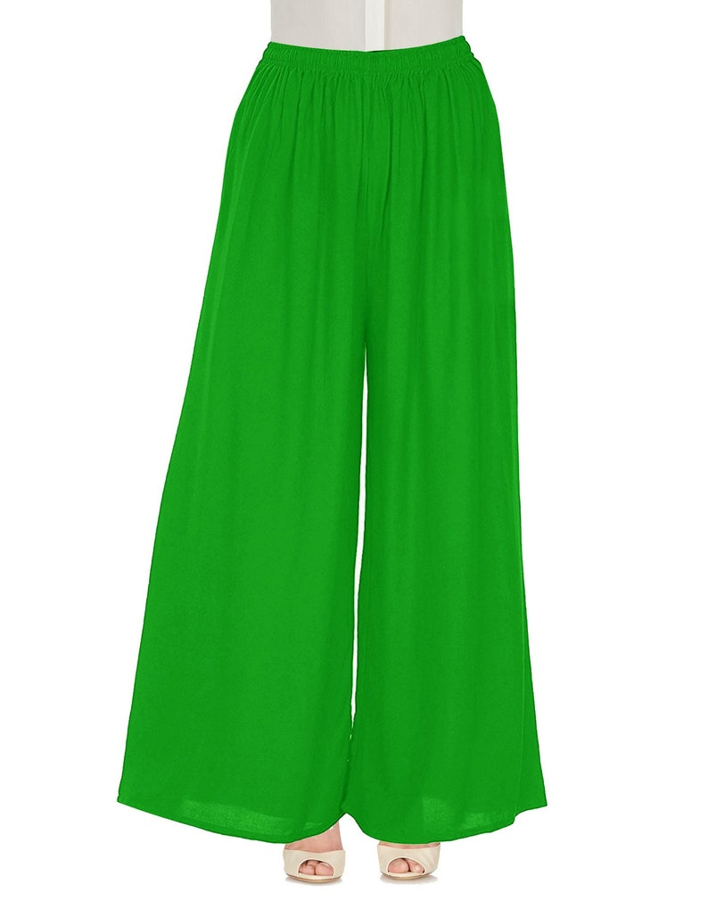 Palazzo Loose Casual Pants Women Wide Leg Flared Bottom Trouser Yoga Rayon Pajama-Solid Pattern