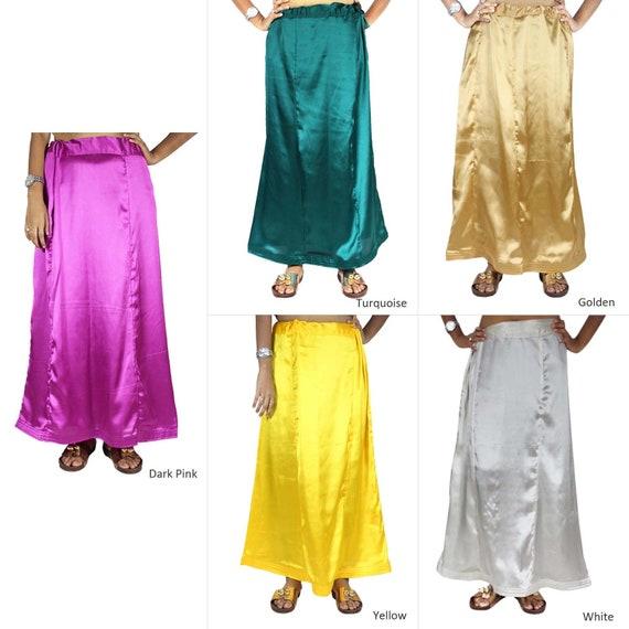 inskirt for saree. Free Shipping Ready made Green Elegant Look Women Ethnic Wear Petticoats satin Petticoat Lehenga for Saree