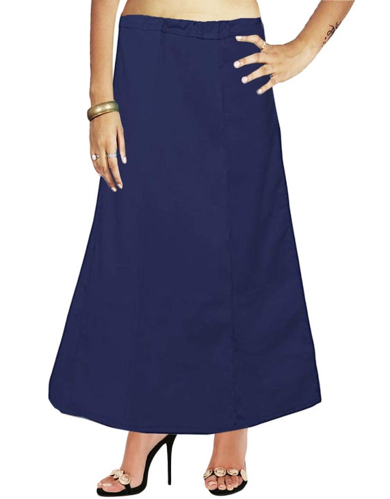 Indian Women Wear Cotton Bollywood Petticoat Solid Inskirt Lining For Sari Gift For Her