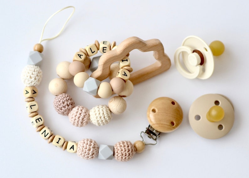 Set of 2 pacifier chain and bite ring