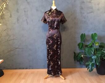 e63f5aa6c44094 Vintage Satin Chinese Japan Kimono Kleid Gr 48 Kirschblüten