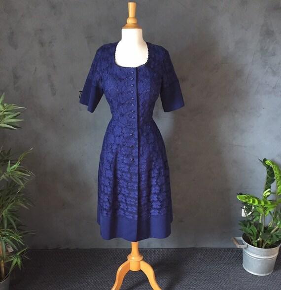 broderie anglaise vintage dress lace Gr L 42 uniqu