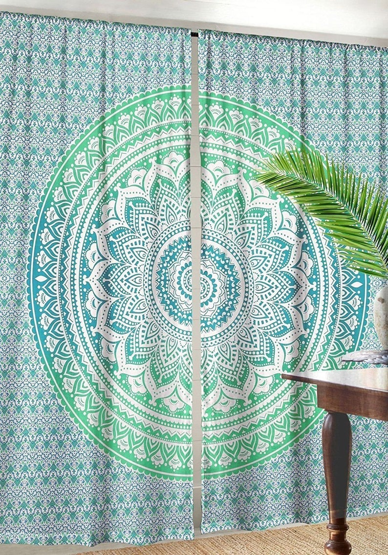 Indian Mandala Window Door Curtains Wall Drapes Panel Hippie Home Decor Tapestry