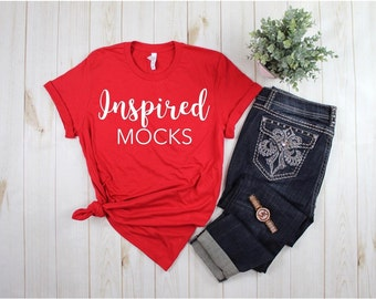 Download Free Bella Canvas 3001 Red Unisex Jersey T-shirt Mockup | Shirt Mockup | Flat Lay Mockup | Basic Mockup | Flat Lay Outfit | Styled Mockup PSD Template