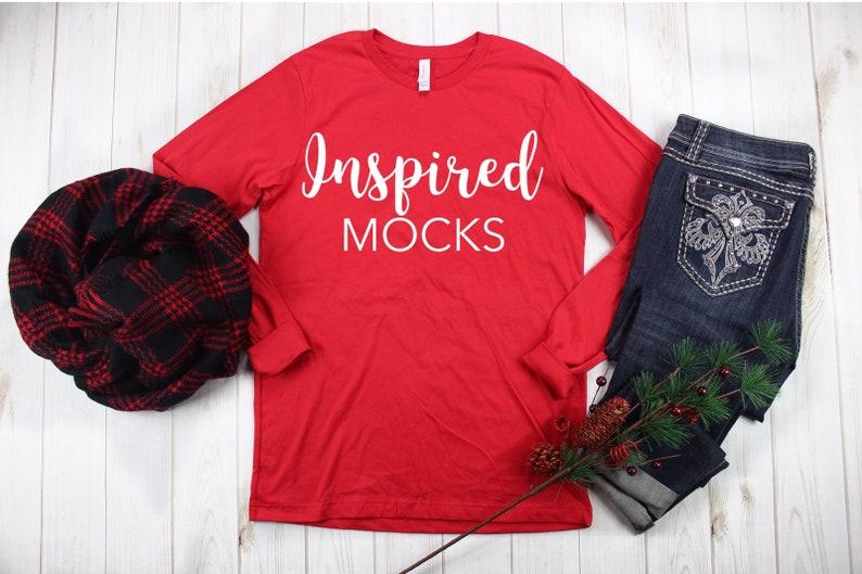 Bella Canvas 3001 Red T Shirt Mockup Shirt Mockup Flat Lay Etsy