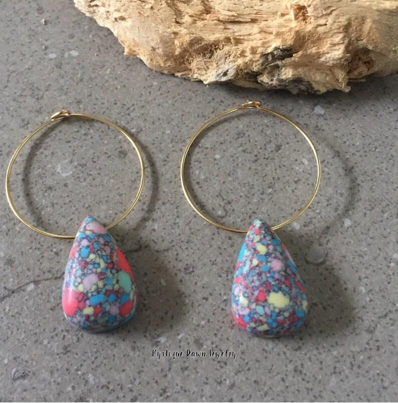Teardrop Earring Mosaic Teardrop Gold Hoop Earring,Mozaic Hoop Earring,Dangle Earring,Gold Hoop Earring,Mystique Dawn,Gold Filled Earrings
