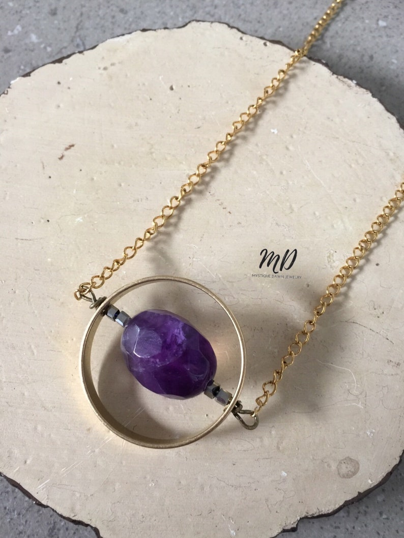 MystiqueDawn Amethyst Necklace,Amethyst Pendant,Gemstone Jewelry Handmade Necklace,Gift for Her Raw Stone  Necklace Mom Gift Bridesmaid