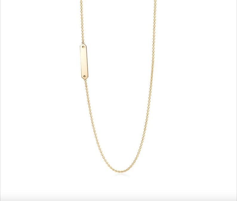 14k Gold Tag Chain Necklace   14K Gold Necklace  Solid Gold Pendant and Chain