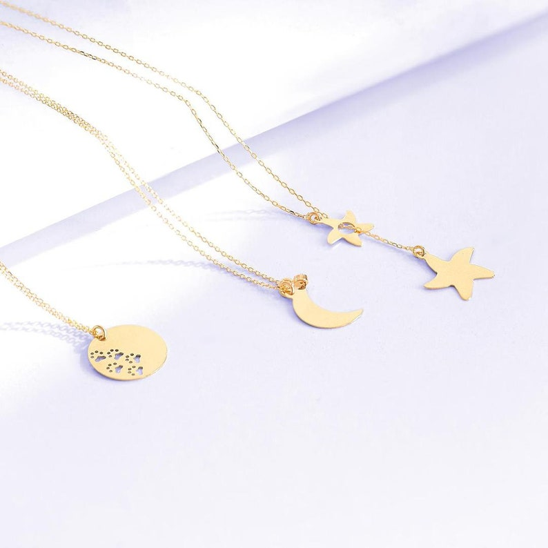 14k Gold Paw Necklace  14k Gold Disc Necklace  14k Gold Small Circle Necklace  Round Plate Necklace