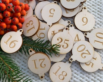 Advent calendar Wooden number tags, natural wood, reusable buttons, Christmas tags, set of 25, wooden baubles