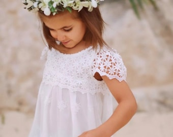 Little Girls Sweater Lace Flower Pure Color