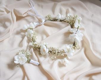 Baby's Breath & Cherry Blossom Crown, BOHO WEDDING FLOWER Crown, Cherry Blossoms Hair Accessory, White Wedding, Rustic Crown, Hair Crown