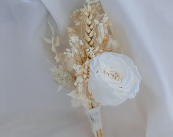 Bleached Gypsophila Lapel Pin and Natural Dried Flowers Boutonniere Preserved Rose Buttonhole / Boho Boutonnaire
