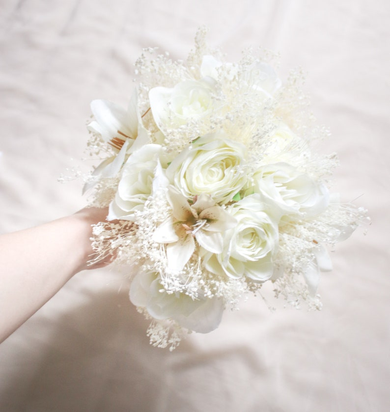 Off White Lilium and Rose Wedding Bouquet Bleached Baby/'s Breath