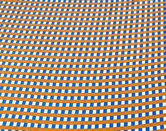 Satin - blue white orange checkered - by the metre - 140 cm width