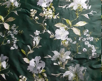 Embroidered Doupion Silk - Green with White Lilies - By the Metre - 135 cm width