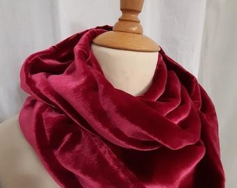Silk velvet loop scarf raspberry red