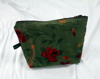 "Cosmetic bag ""Velvet & Silk"" dark green with red rose pattern"