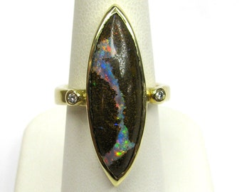 14K Yellow Gold 13.09ct Boulder Opal and Diamond Ring