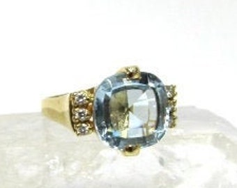 14K Yellow Gold 6.20ct Blue Topaz and Diamond Ring