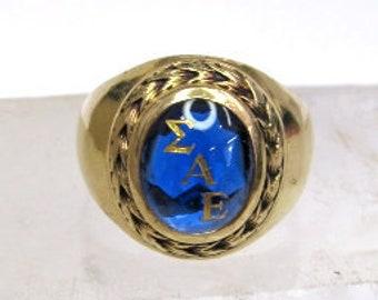 10K Yellow Gold Sigma Alpha Epsilon Blue Spinel Ring