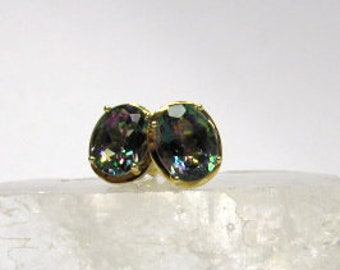 14K Yellow Gold Oval Mystic Topaz Earrings