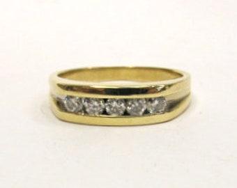 10K Yellow Gold Five Diamond 0.50cttw Men's Ring