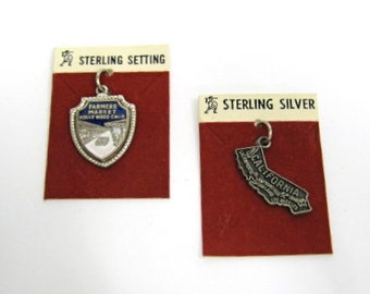 Sterling Silver California Charms - Hollywood Farmers Market and State of California Charms