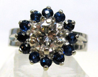 Platinum and 18K White Gold Diamond and Sapphire Ring