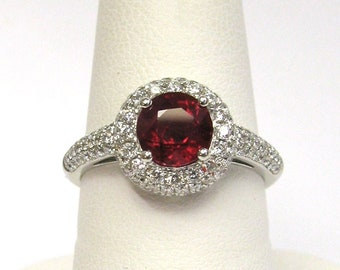 18K White Gold 1.33ct Ruby and Diamond Ring