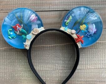 Little Mermaid Ariel Inspired Minnie Mouse Snowglobe Minnie Ears